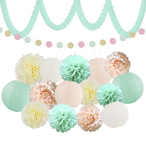 XFunino Baby Shower Decorations, Teal Pink Birthday Themed Party Decorations, Paper Lantern Decorative Tissue Paper Pom Pom Garland 11.8ft Gold Glitter Party Pack, 18 Pcs -