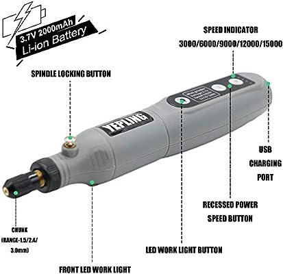 Mini Amoladora YEPLING 3.7V Amoladora Electr/ónica DC Herramienta Rotativa USB Recargable con 24 pcs Accesorios para los DIY Trabajos de Pulir