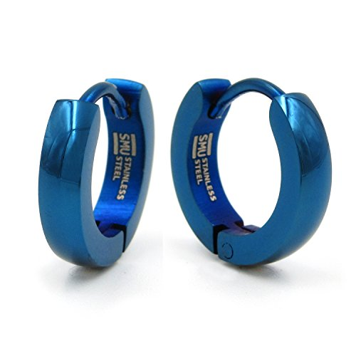 Pair Stainless Steel Blue Plated Curve Polished Hoop Earrings 3mm