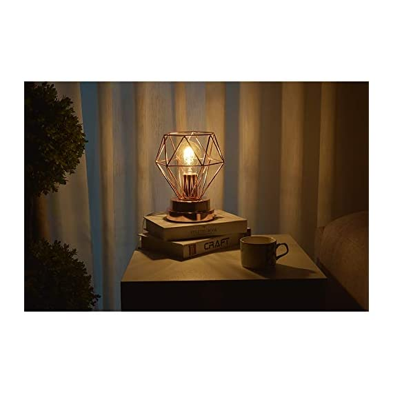 COTULIN Table Lamp,Modern Desk Lamp with Hollow Out Shade for Living Room Bedroom,Rose Gold - Input:AC 110V-120V,max 60W,fits E26 bulb(not included). Cute Size:Height 8.27 inch,diameter 6.70 inch,please note the size. Quality Assurance:Our product focused on modern style and concentrate more on quality,have got the UL certification of US. - lamps, bedroom-decor, bedroom - 41csdczij9L. SS570  -