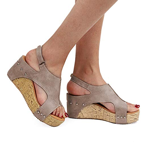 bc11f5507f8 Athlefit Women s Cutout Belt Wedges Sandals Platform Faux Leather Cork High Heels  Size 7.5 Khaki Gladiator