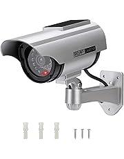 AlfaView Dummy Bewakingscamera op zonne-energie, namaakcamera, dummy, dummy, voor binnen en buiten, valse bewaking, huisbeveiliging, (1 x Pack)