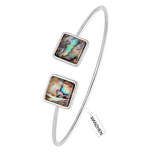 MANZHEN Delicate Natural Abalone Shell Wire Open Bangle Double-Square Cuff Bracelet(Silver)