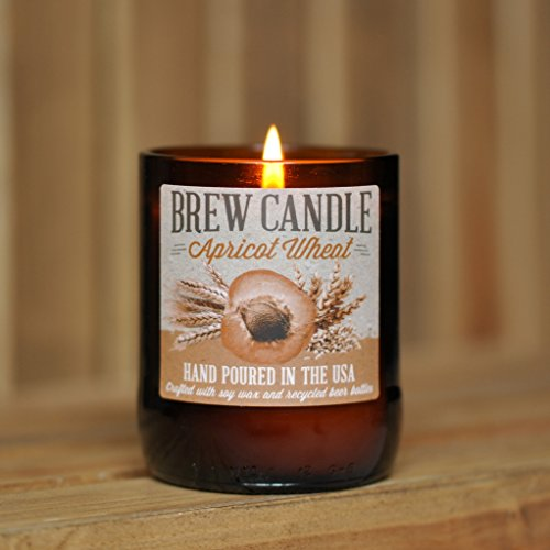 APRICOT WHEAT Brew Candle - Hand Poured in USA (Soy Wax) - Great Gift For Beer Lovers - For Home, The Brewery, or The Man Cave (made from recycled beer bottles)