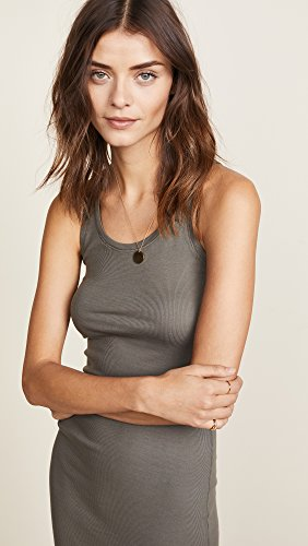 Splendid Womens 2X1 Rib Long Racer Back Tank Army Green