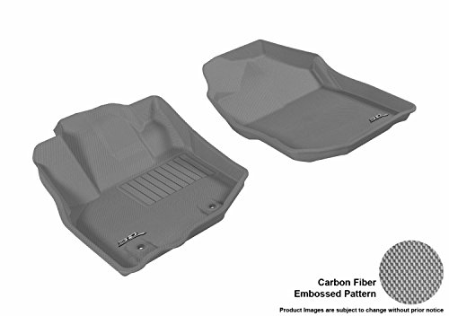 3D MAXpider Front Row Custom Fit All-Weather Floor Mat for Select Honda Fit Models - Kagu Rubber (Gray)