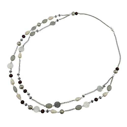 BOCAR 14K Gold Plated Link Chain 2 Layer Crystal Wood Acrylic Colorful Women Party Long Necklace Gift (10084-grey) by Bocar