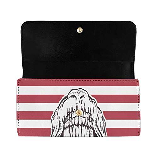 InterestPrint Women's Trifold Clutch Wallets Sugar Skull Flag Long Card Holder Handbags