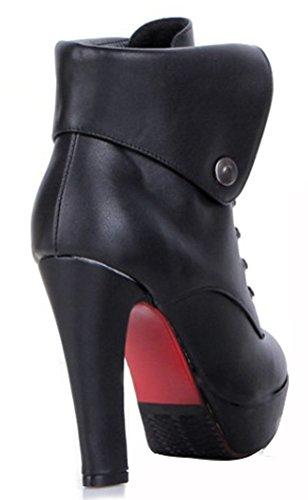 IDIFU Womens Sexy Chunky High Heel Lace Up Martin Ankle Boots Black 0MrQxug0pV
