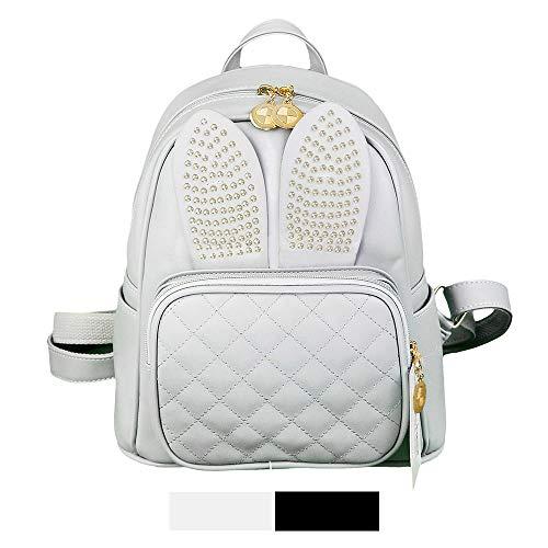 Mini Backpack For Girls Cute Rabbit Design Fashion Leather Bag Women Casual Fashion (Rabbit Gray)