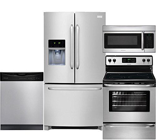 Electric French Door Refrigerator - Frigidaire 4-Piece Stainless Steel Kitchen Set, FFHB2740PS 36