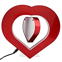 DeWin LED Magnetic Levitating Picture Frame Rechargeable Red Heart Shaped Levitating Frame for Home, Office, Wedding Decoration