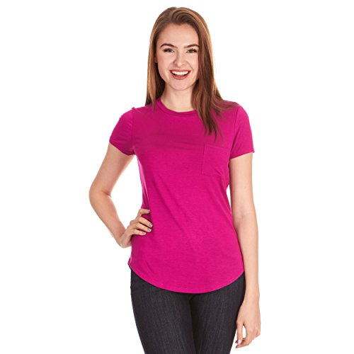 X America Crew Neck Short Sleeve Junior and Plus Size T Shirts for Women w/Pocket, Made in USA Pink