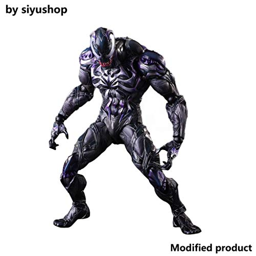 Siyushop Venom Action Figure PA Change Venom Movable Model Statue Anime Ornament Height 25 cm - with Hero Special Effects Accessories