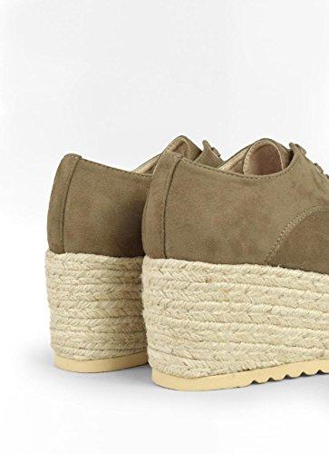 Taupe para Plataforma Blucher Mujer con Zapato Bosanova qFY6Y