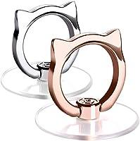 猫 透明 スマホリング ネコ 落下防止リング ホールドリング 薄型 スタンド 車載ホルダー 360回転 iPhone/Android各種他対応