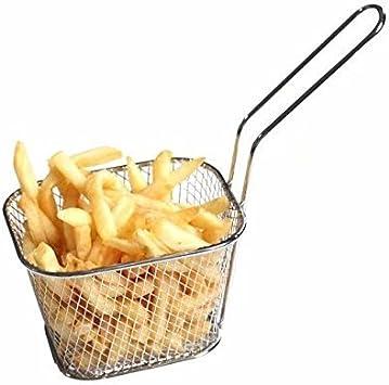 Kitchen Stainless Steel Chip Fryer Serving Food Presentation Frying Basket