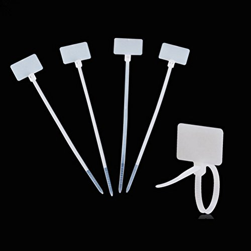 Amgate 100 Pcs Write on Ethernet Wire Zip Ties Cable Mark Tags Nylon Power Marking Label (100pcs)