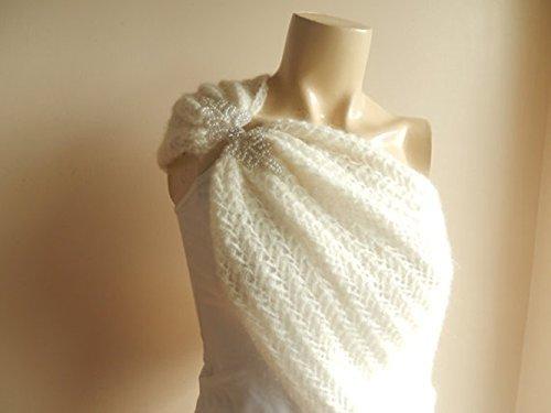 Crochet Bridal Cape /Ivory Wedding Wrap Shrug Bolero/Hand Crochet Sparkle Mohair Scarf with Pearl Rhinestone-Ready to Ship