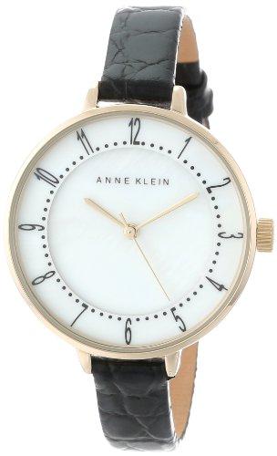 Anne Klein Women's AK/1404MPBK Gold-Tone Easy-to-Read Dial Black Leather Croco-Grain Strap Watch