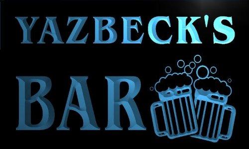 w106466-b YAZBECK'S Name Home Bar Pub Beer Mugs Cheers Neon Light Sign