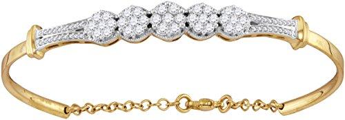 Roy Rose Jewelry 10K Yellow Gold Ladies Diamond Cluster Promise Bangle Bracelet 1-Carat tw