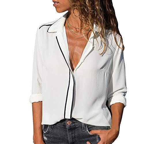 Chiffon Chemisier lgante Bureau Shirt Blouse Chic Longue Top Femme Blanc Chemise Lache en Manche Printemps Automne Dihope T Affaires Casual 7XtT7