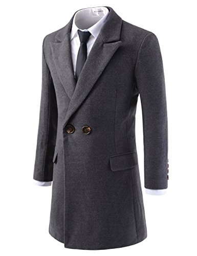 NEARKIN NKNKDC7081 Mens Essential Peak Lapel Wool Blend Double Breasted Pea Coat Charcoal US XL(Tag Size XL)