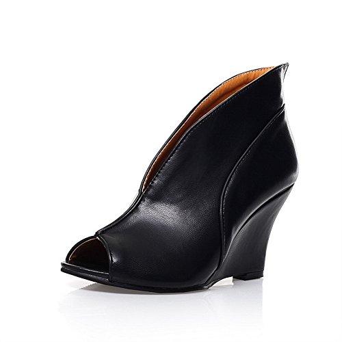 1TO9 Girls Pull-On Peep-Toe Thread Polyurethane Pumps-Shoes Black W0MvVMSAfg