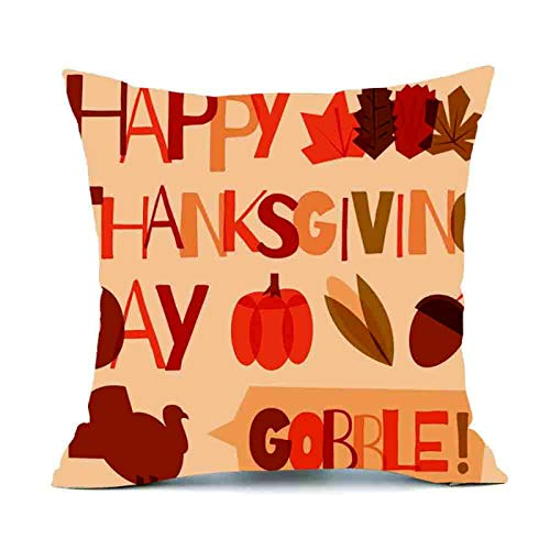 Fall Pumpkin Harvest Decorative Pillowcases Autumn Thanksgiving Decorative Throw Pillow Case Cushion Cover for Sofa Bedroom Car Decoration, 18 x 18 Inch]()