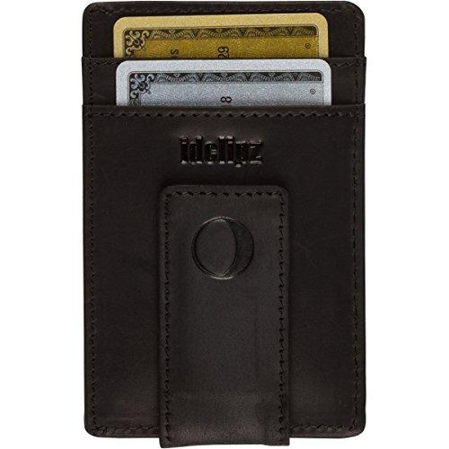 Slim Leather Money Clip Wallet for Men - Best Front Pocket Wallet with Credit Card Holder & ID Case - RFID Blocking (Cool Black)