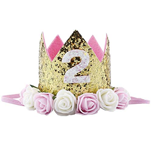 Birthday Crown Baby Girl Princess Hat Gold Flower Tiara Headband Party Supplies (pink 2)