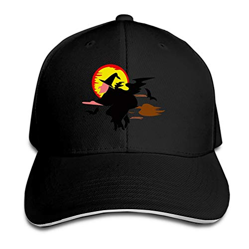 Witch Broomstick Halloween Broom Holiday Magic Unisex Washed Twill Baseball Cap Adjustable Peaked Sandwich Hat]()