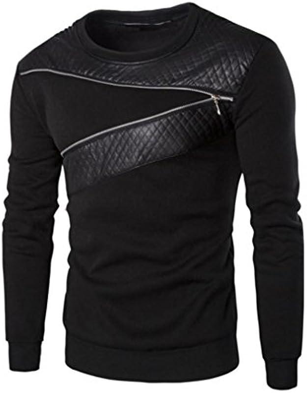 Męski sweter Honestyi męski zima ciepłe sploty skÓra bluza płaszcz kurtka zużycie sweter, czarny: Instrumenty muzyczne
