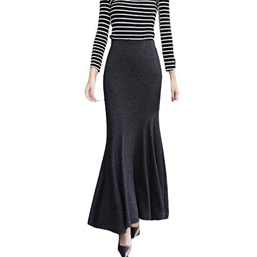 Black Long Fishtail Skirt - TEERFU Womens Vintage Fishtail Long Skirt Mermaid Pleated Bodycon Skirt High Waist Black