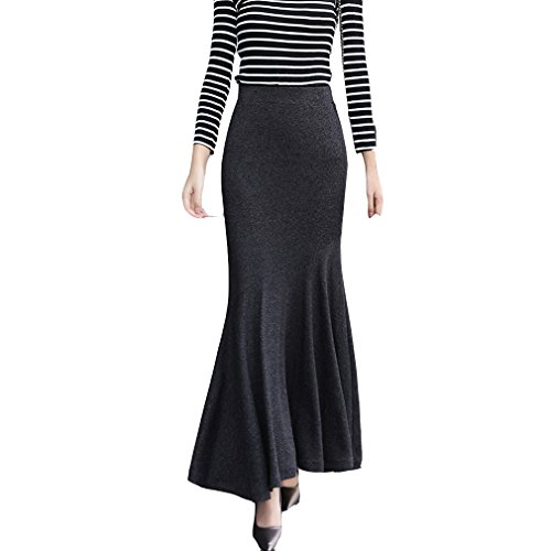 Black Long Skirt Fishtail - TEERFU Womens Vintage Fishtail Long Skirt Mermaid Pleated Bodycon Skirt High Waist