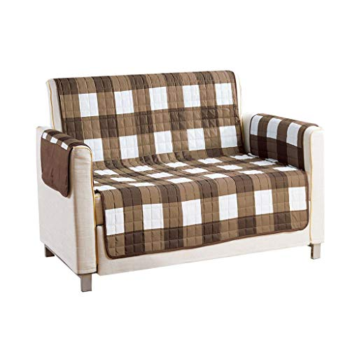 Gingham Fabric Recliner - Quick Fit - The Original Plaid Gingham Checkered Reversible Water Resistant Furniture Cover for Dogs, Kids, Pets Sofa Slipcover for Couch, Recliner, Loveseat or Chair (Loveseat: Brown)