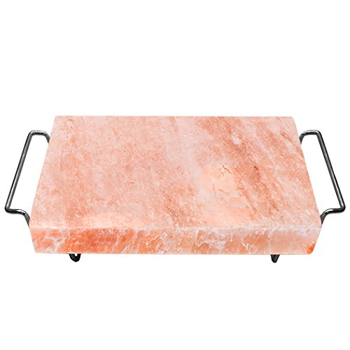 Chill Flavors - Majestic Pure Himalayan Salt Block - 100% Pure Pink Himalayan Salt, with Stainless Steel Holder, 12in x 8in x 1.5in