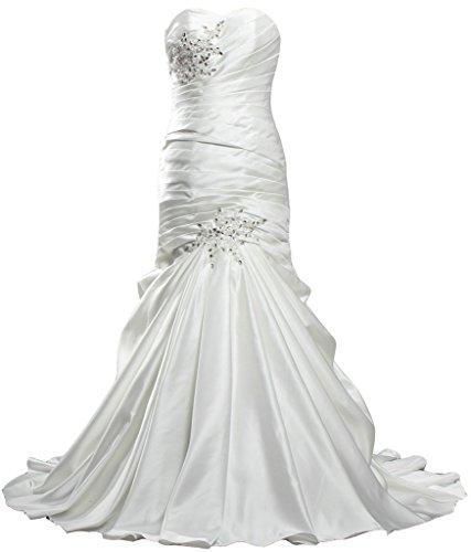 - ANTS Women's Elegant Mermaid Satin Sweetheart Long Wedding Dresses Size 4 US Ivory