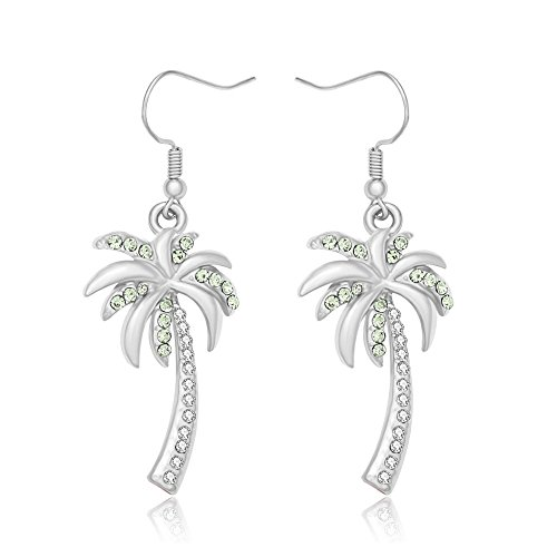 MANZHEN Crystal Beach Palm Tree Dangle Earrings Tropical Jewelry for Women (silver)