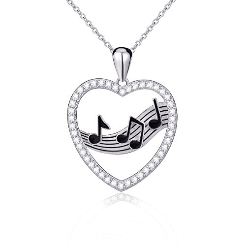- 925 Sterling Silver Treble Clef Bass Heart Musical Note Pendant Necklace,18 inches