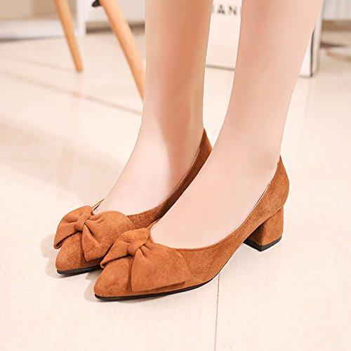 Im Licht des Damen Schuhe Spitze High-Heeled fein mit der Spitze Schuhe des Bow Tie Mädchen Schuhe Rosa Niedrig-Cut Schuhe Hochzeit Schuhe, Gelb 35 - c46ea4