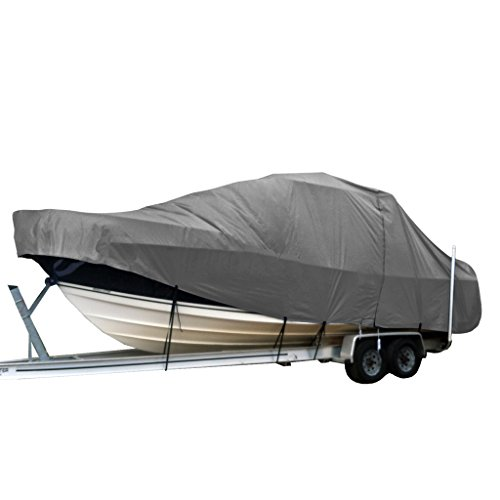 Hardtop Boat Cover (SavvyCraft Heavy Duty Center Console Fishing T-Top Hard-Top Boat Cover Grey fits up to 32')