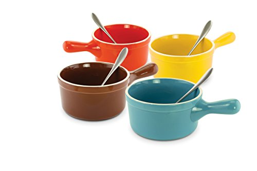 KOVOT Set of 4 Ceramic Handles Soup Bowls With Metals Spoons - 24-Ounces Each