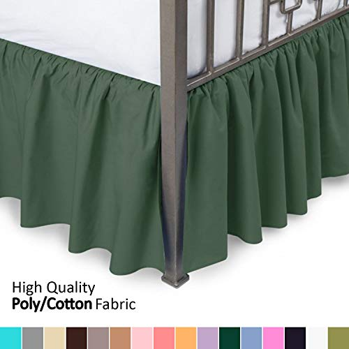 Ruffled Bed Skirt with Split Corners - King, Hunter, 18 Inch Drop Bedskirt (Available in and 16 Colors) Dust Ruffle. (Hunter Ruffled Bedskirt)