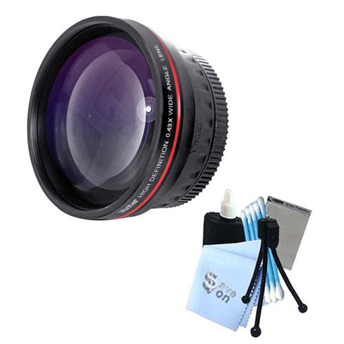 "Price comparison product image Vivitar Series 1 ""RedLine"" HD 0.43X Wide Angle Lens w / Complete Cleaning Kit for Panasonic GF2 GH2 GH3 Cameras"