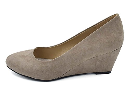 Greatonu Women's Office Wedge Platform Mid Heel Court Shoes Beige 6hJz9l5E
