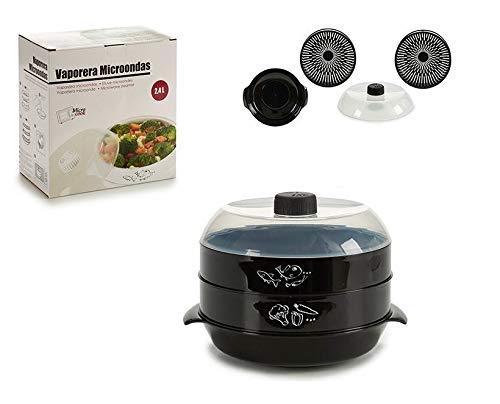 takestop® - Recipiente para cocinar al Vapor, 2,4 L, para Horno microondas de 2 Niveles, con Tapa de plástico, PVC, para cocinar Verduras, Alimentos ...