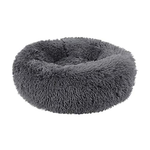 Fluffy Luxe Pet Bed for Dogs & Cats, Anti-Slip, Waterproof Base, Machine Washable, Durable Calming Sleeping Bed (Dark Gray, L)