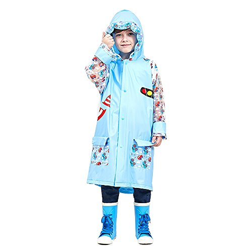 SITENG Girls Boys Kids Children Inflatable Hooded School Backpack Rain Jacket Raincoats Ponchos by SITENG (Image #1)